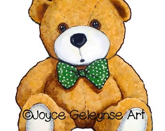 Printable Clip Art, Teddy Bear with Green Polka-Dotted Bow Tie, gif and jpg files, Commercial Use, Instant Download, Original Art