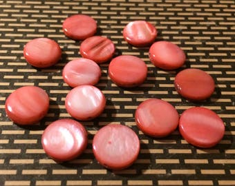Destash Pink Mother of Pearl Coin Beads 14 Pieces