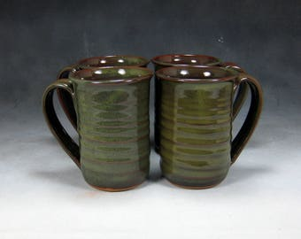 Large Pottery Mug 4 Green 16 ounce Ceramic Coffee Mug Coffee Cup Set Pottery Coffee Mug Hand Thrown Stoneware Pottery 3