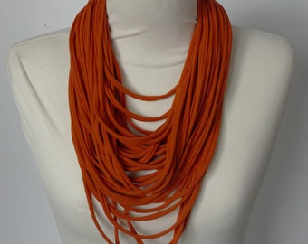 Upcycled t-shirt scarf: Energetic ginger strips [744]