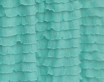 Ruffle Curtain Panel, Mint Green, 84 inches Long 52 Inches Wide - Mint Window Treatment - Mint Ruffle Curtain - Mint Home Decor