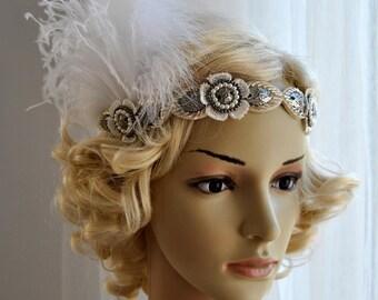 Flapper Feather The Great Gatsby 1920s rhinestone Headband,Ivory Vintage Inspired,Wedding Bridal Flower Art Deco headband