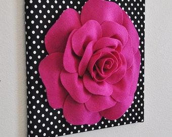 "Home Decor - Rose Wall Hanging- Fuchsia  Rose on Black and  White Polka Dot 12 x12"" Canvas Wall Art- 3D Felt Flower"