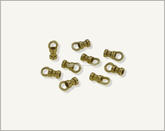 10 pc.+  1.5mm Crimp End Cap, Crimp Ends, Cord Ends for Leather Cords & Chains - Raw Brass