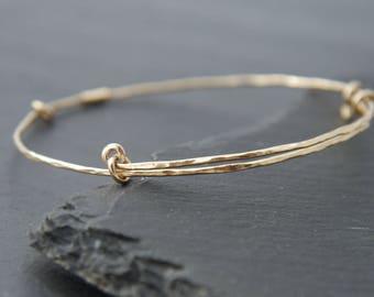 Thin Gold Bracelet, Adjustable Bangle Bracelet, 14K Gold Fill, Hammered Gold Bracelet, Layering Bracelet, Stacking Bracelet,  Bohemian, Boho