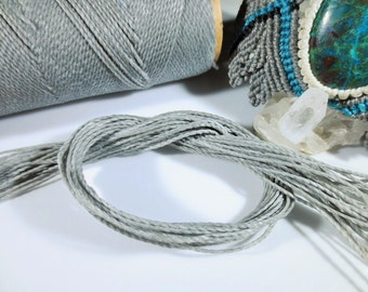 Light Grey Waxed Polyester Cord 25ft pack  = 8.33 yards = 7,6 meters Linhasita Thread Brand #208