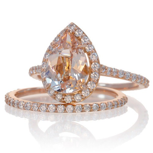 Bridal Set with matching band 14K Rose Gold Pear Cut Shape