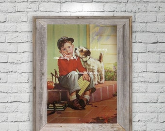 "Boy's Room Art, Family Room Art, Kitchen Art, Report Card Tim, Boy and Dog, ""Don't Feel Bad""  #108"
