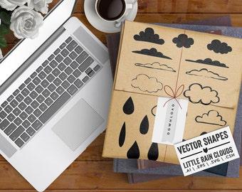 Little Rainclouds Downloadable Vectors, Cloud Vectors for your Art Journaling. SVG Cut File for Mixed Media & Junk Journal Kits.