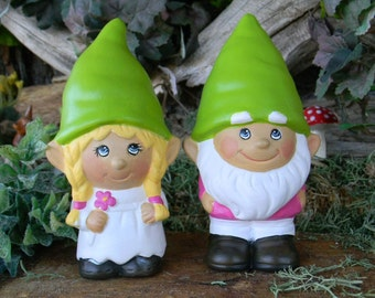 Gnome Wedding Cake Topper... The Gnomelyweds  Wedding gnomes Custom painted  ...... Gnomeo and his Juliet Painted to your order