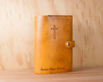 Bible Cover with Monogram or Name and Cross - Leather in antique tan - Custom Personalized Bible Cover - Wedding or Baptism Gift