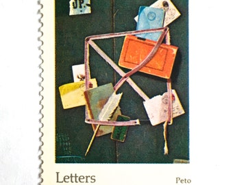 10 Letters & Envelopes Postage Stamps // Letters Mingle Souls // Vintage Letter Writing Painting / 10 Cent Postal Postage Stamps for Mailing