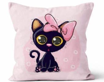 Cotton Fabric - Black Cat  Pillow Panel - Black, Pink  - Medium Size