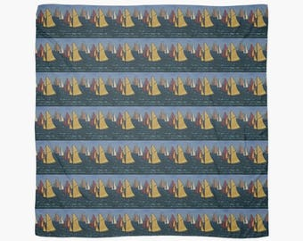 Beautiful Scarf Featuring A Design Based On The Painting  'Les Yacht Classiques I'
