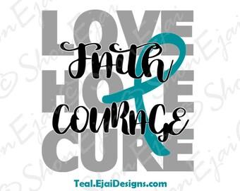 Cervical Cancer, Scleroderma, Myasthenia Gravis, Interstitial Cystitis, Dysautonomia, Ovarian Cancer Svg, Teal, Awareness SVG,