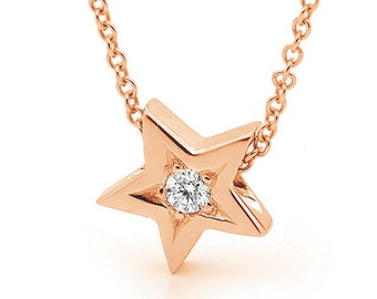 Rose Gold natural Diamond Star Pendant- with or without chain