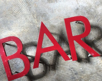 """SUPPLIES DECOR...B A R ~ Red ~ 5"""" industrial metal ~ sign ~ wall decor ~ steampunk ~ kitchen lounge ~rare find"""