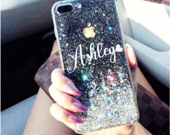 Clear glitter Phone case iPhone 7 case iPhone 7 Plus case iPhone 6 case iPhone 6 Plus case iPhone 8 case iPhone 8 Plus case iPhone x case