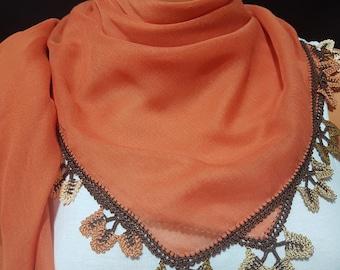 Mothersdayscarf,Colorful Scarf, Square scarf, wrap, grey scarf, Cream Scarf, Needle work Scarf, Tatting Scarf, Sided Scarf, Head Scarf