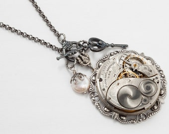 Steampunk Necklace with Vintage Elgin Pocket Watch Movement, Genuine Pearl, Silver Filigree & Skeleton Key Charm, Victorian Jewerly Gift