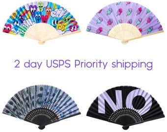 2 Day USPS Priority shipping hand fans