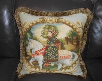 Vintage Antique Needlepoint petit point EMBROIDERED pillow Custom made ONE