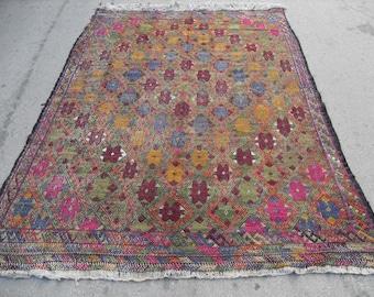 free shipping VINTAGE TURKİSH balıkesir cecim kilim Anatolian handwoven kilim rug decorative kilim - SİZE : 76'' X 112'' ( 190 cm X 280 cm)