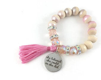 She Believed She Could...So She Did Charm Bracelet, Tassel, Hand Painted, Wood Beads, Pink, Girl Gift