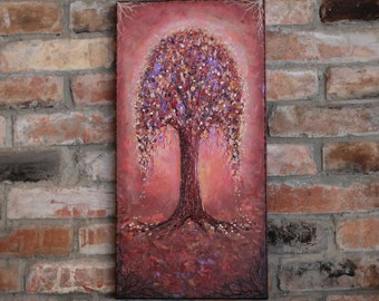 Original painting abstract tree of life canvas painting wedding wall decor landscape painting