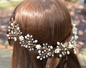 Bridal Hair Vine, Bridal Headpiece Pearl, Crystal Hair Vine, Bridal Halo, Wedding Headdress, Pearl Hairpiece, Floral Hairpiece, Wedding halo