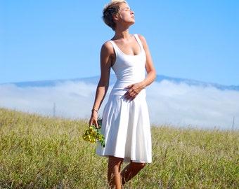 Organic Wedding Dress - Casual Wedding Dress - Outdoor - Eco Friendly - Tank Dress - Circle Skirt