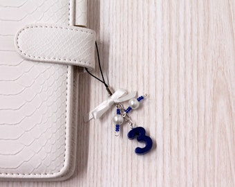 Filofax charms with number, blue planner charms, planner pendant, beads charm midori traveler's notebook