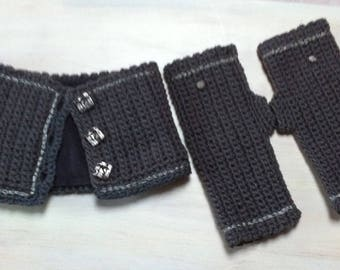 Snood and mittens gray crochet embroidered