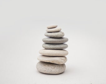 TALL MEDITATION STACK, eight stacking stones, mindfulness, calm anxiety, peaceful neutral colours, natural, office art, tabletop sculpture