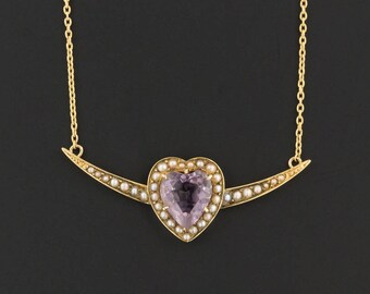 Amethyst Heart Necklace | Antique Pin Conversion Necklace | Amethyst & Pearl Necklace | 14k Gold Amethyst Necklace | February Birthstone