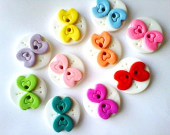 Button Rainbow of Butterflies handmade polymer clay buttons  ( 10 )