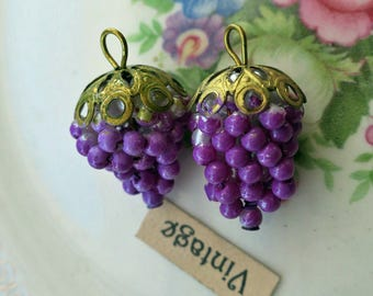 Earring parts, shabby chic charms,Vintage Grape Cluster Pendant Pearl Filigree Drops Dangles Charms Purple #1067D