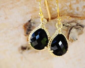 Black Bridesmaid Earrings,Black Drop Earring,Simple Black Earrings,Black Bridal Earrings,Dangle Earring, Bridesmaid Gift, Gold Earrings
