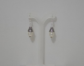 Swarovski Pearl Bridal Earrings - MADE TO ORDER in Any Color - Silver French Wires, Leverbacks or Posts - Shown in Cream