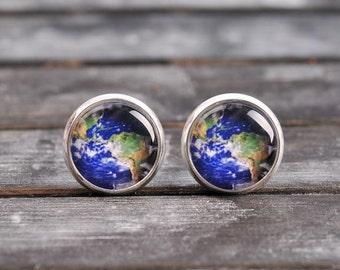 Planet Earth earrings, map earrings, brass earrings, stud earrings, post earrings, glass stud earrings, antique bronze / silver plated