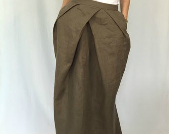 "Maxi Linen Women Skirt / Long Loose Linen Skirt / Oversize Summer Maxi Skirt with Pockets / EXPRESS SHIPPING - ""Starstruck"""