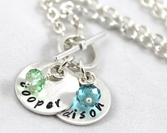 Mother's Day gift, Personalized necklace, toggle necklace, custom hand stamped, mother gift, birthstone jewelry, sterling silver