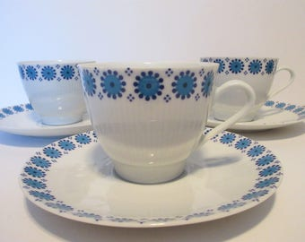 Three Vintage Winterling Bavaria Blue and White Cup and Saucers
