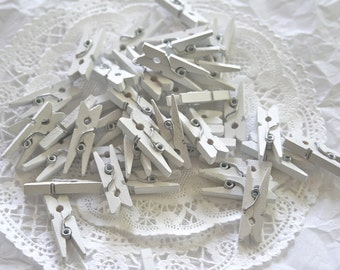 50 WHITE Mini Clothespins, and 10 COLOR Choices