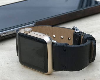 Leather Apple iWatch 38 mm - 42 mm Band | Series 1 / 2 / 3 iWatch Strap / Band Black