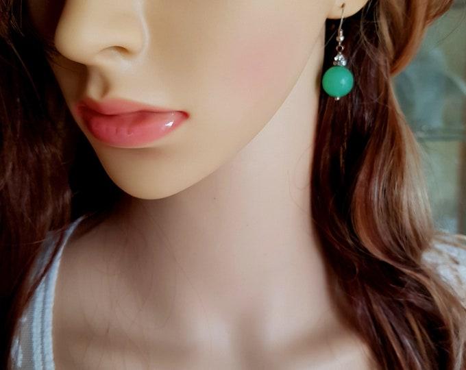 Green Aventurine gemstone bead earrings - Sterling Silver