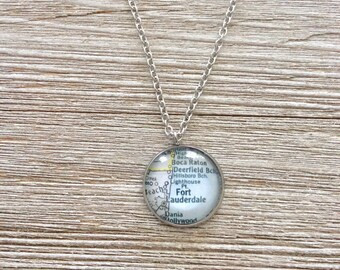 Fort Lauderdale Florida Vintage Map Stainless Steel Pendant Necklace