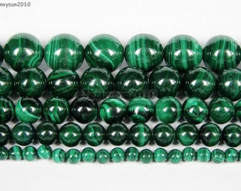 """Wholesale, Natural Green with Swirls Malachite Beads 16"""" Strand, Top Quality 3mm-10mm"""