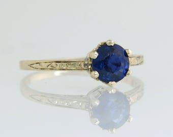 Antique Estate .75ct Genuine Sapphire 10K Yellow Gold Art Deco Engagement Ring