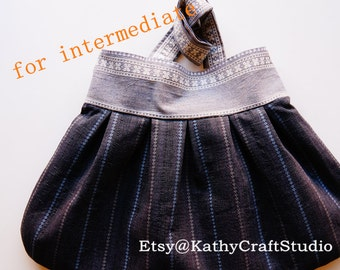 Handmade stripe pleated shoulder bag Sewing Pattern--Great for intermediate level-- PDF Instant download